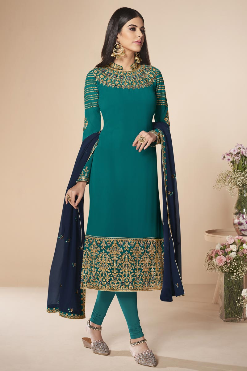 Designer Party Style Georgette Embroidered Straight Cut Dress In Cyan