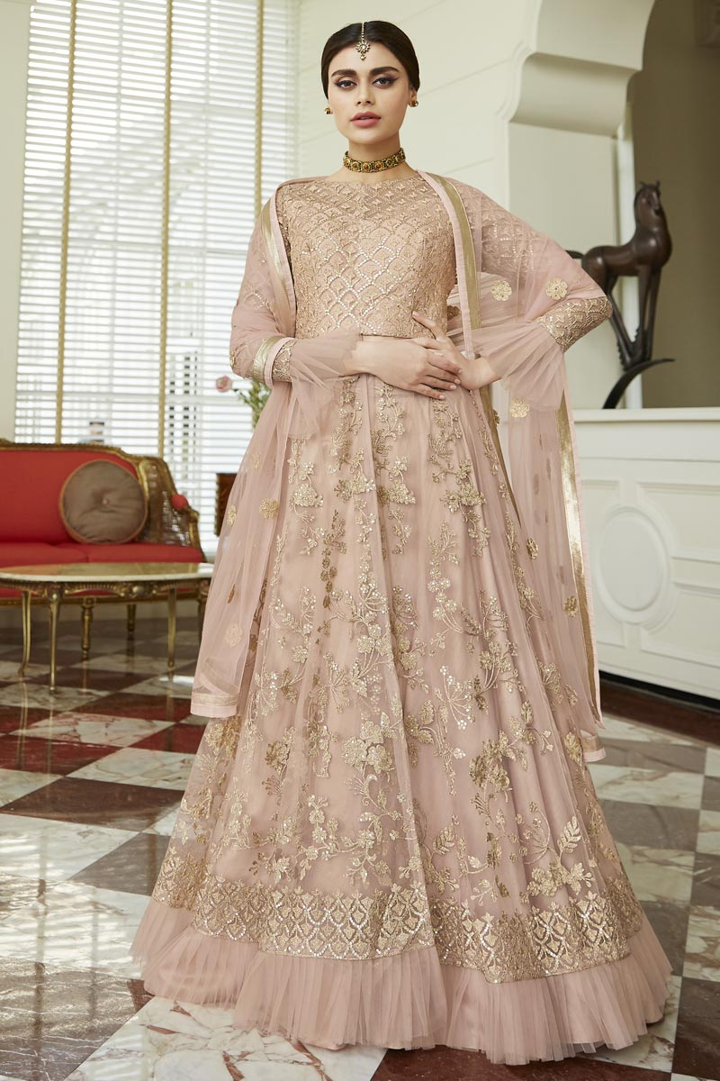 Eid Special Net Fabric Fancy Embroidered Function Wear Anarkali Dress In Peach