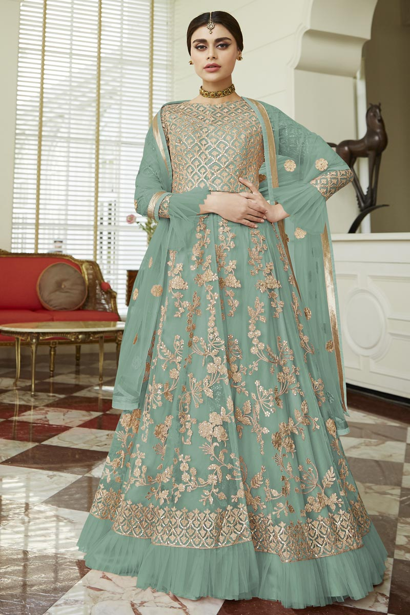 Eid Special Cyan Fancy Embroidered Function Wear Anarkali Dress In Net Fabric