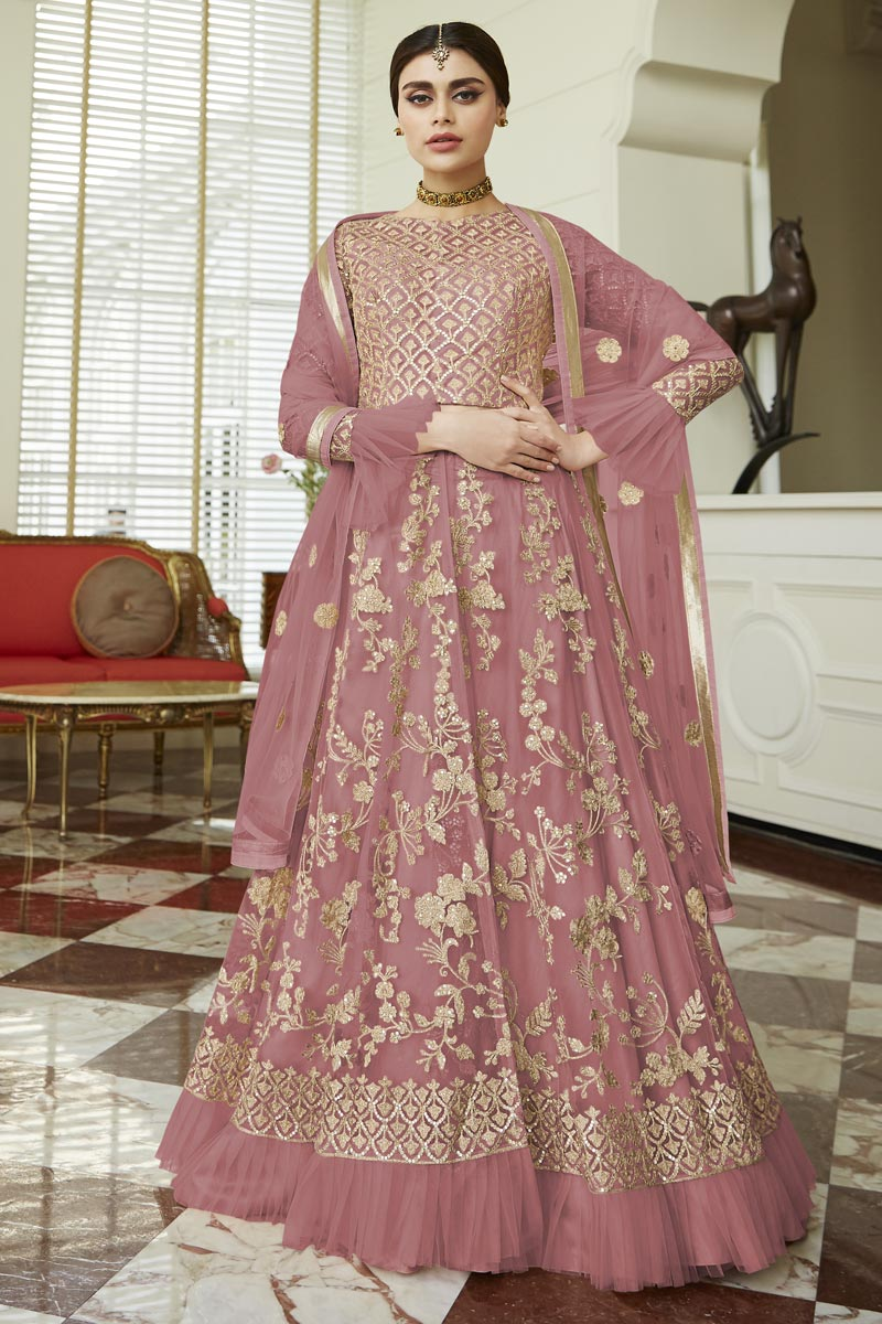 Eid Special Fancy Net Fabric Function Wear Pink Embroidered Anarkali Suit