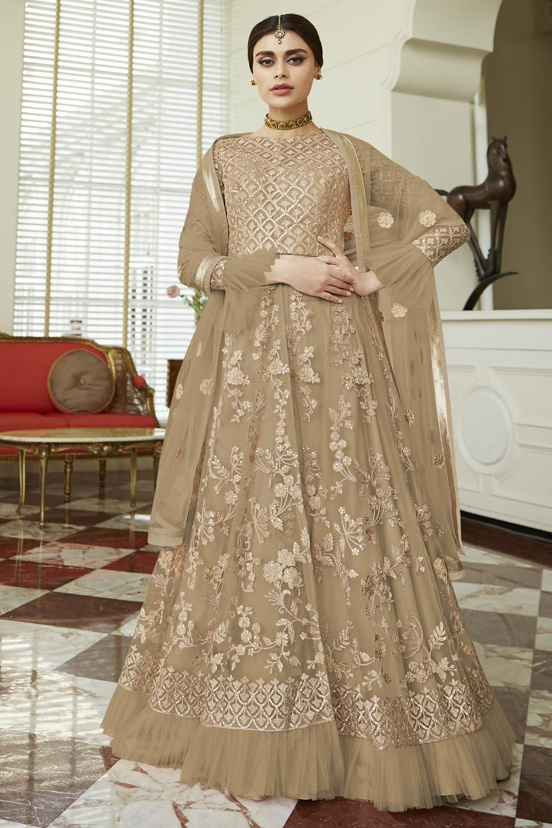 Eid Special Net Fabric Fancy Embroidered Function Wear Anarkali Dress In Beige