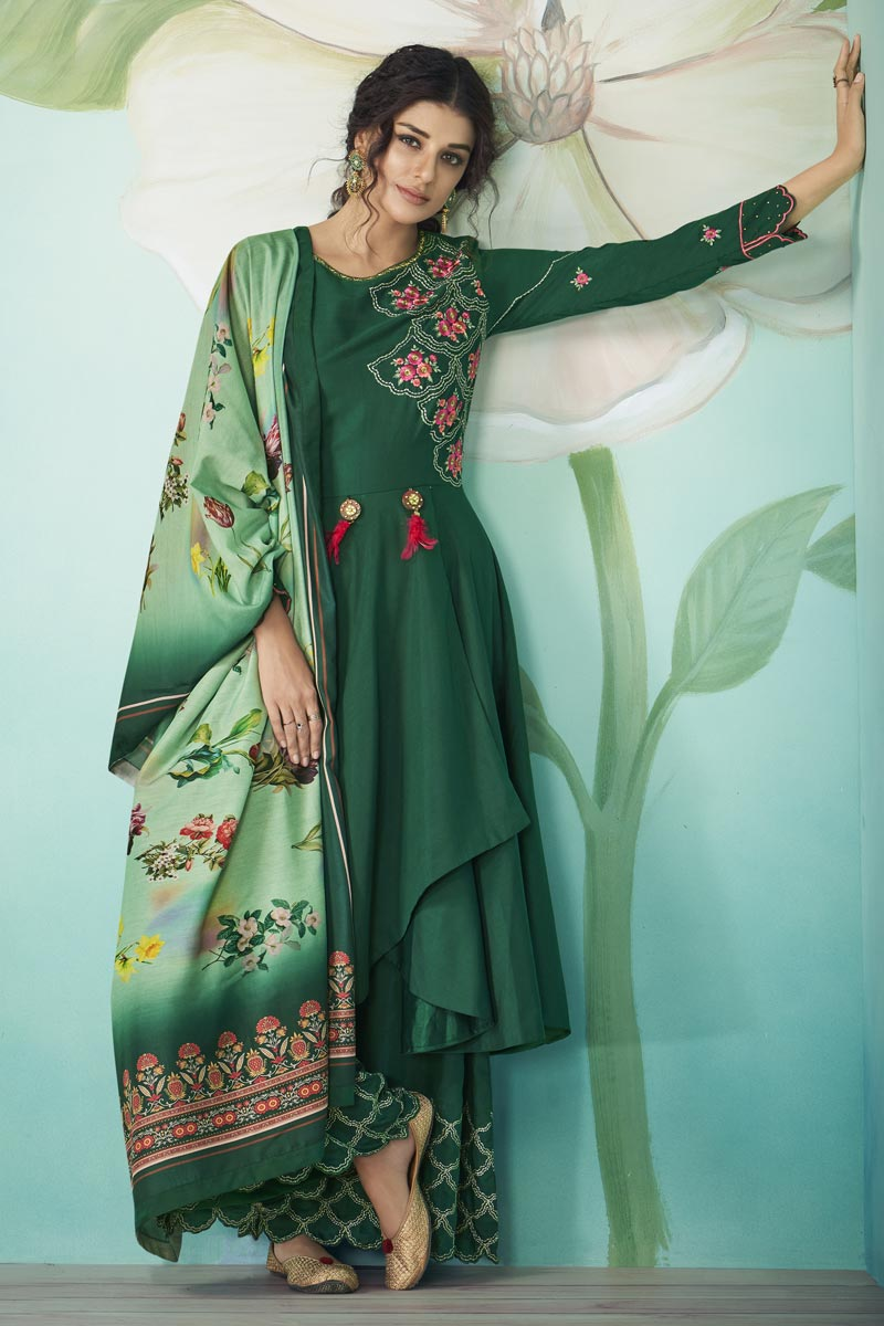 Dark Green Color Party Wear Embroidered Fancy Fabric Readymade Palazzo Dress