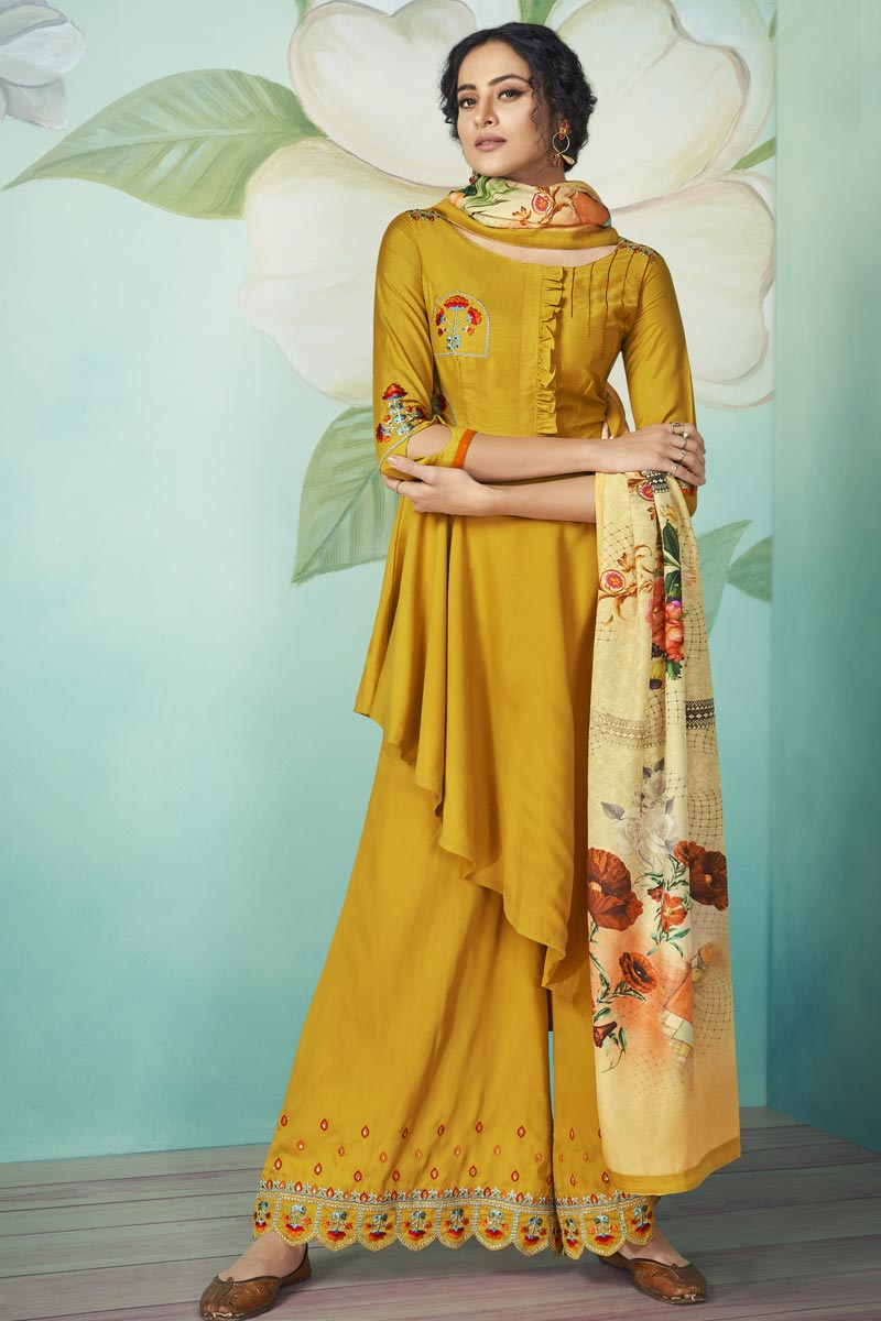 Party Wear Mustard Color Embroidered Readymade Palazzo Suit In Fancy Fabric