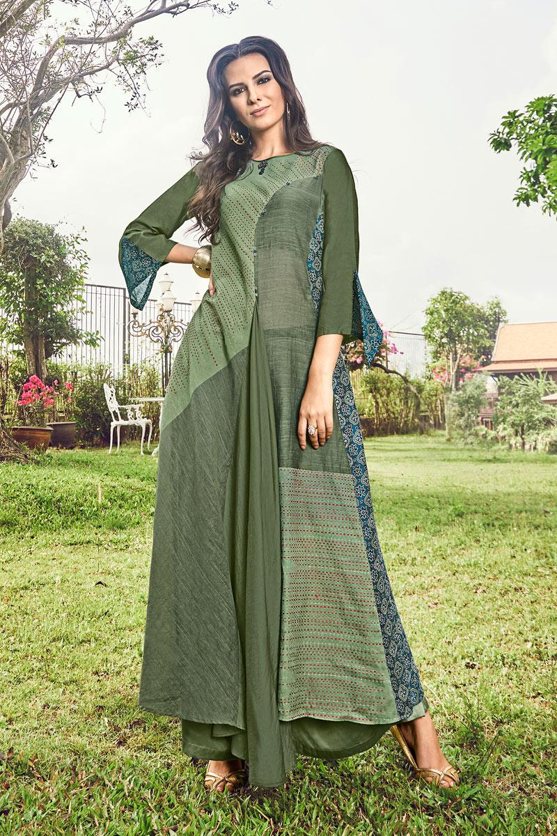 Fancy Print Function Wear Jacquard Fabric Green Color Kurti