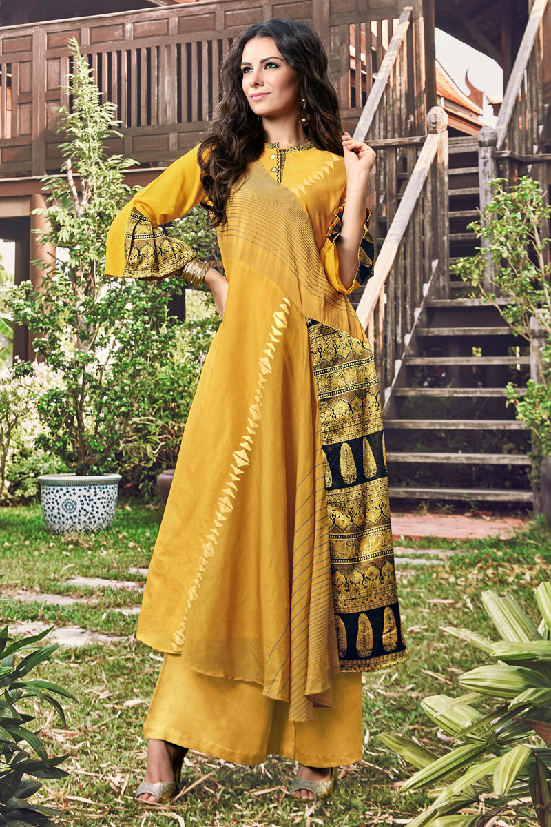 Jacquard Fabric Occasion Wear Mustard Color Fancy Kurti