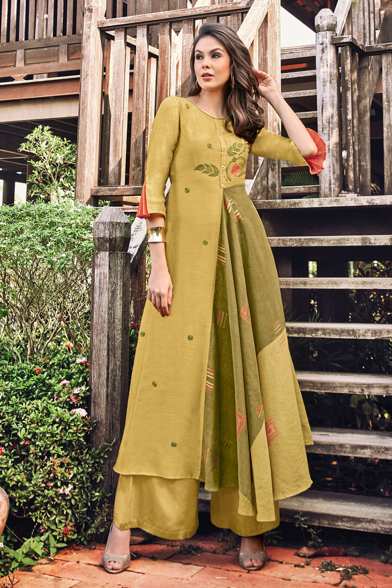 Attractive Jacquard Fabric Party Wear Golden Color Kurti
