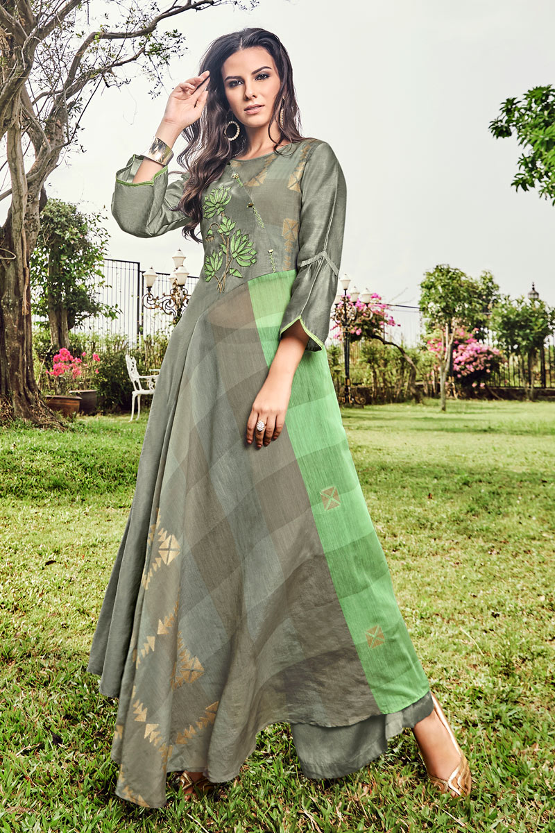 Soothing Jacquard Fabric Grey Color Function Wear Designer Kurti