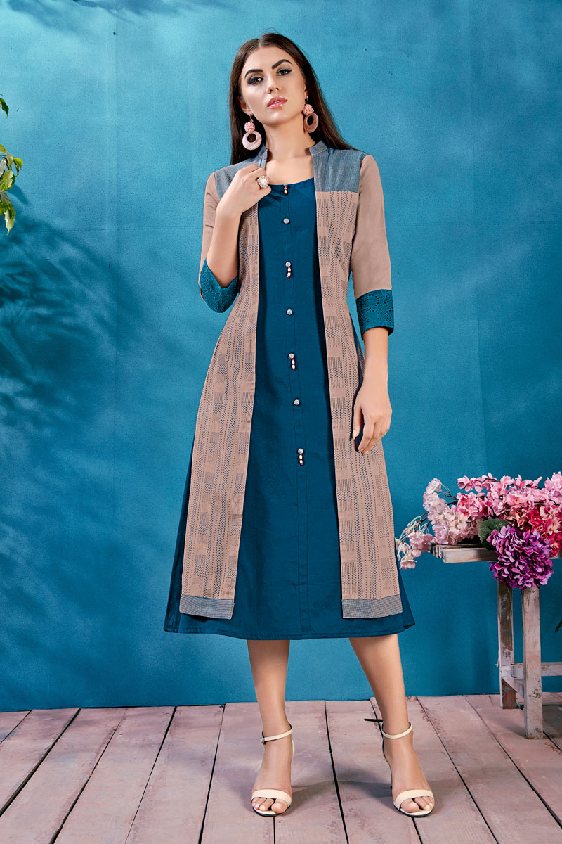Designer Party Wear Navy Blue Color Kurti In  Navy Cotton Fabric With Fancy Jacket
