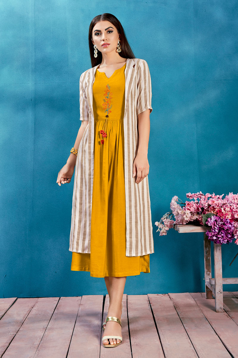 Gorgeous Rayon Fabric Mustard Color Party Wear Kurti With Fancy Jacket
