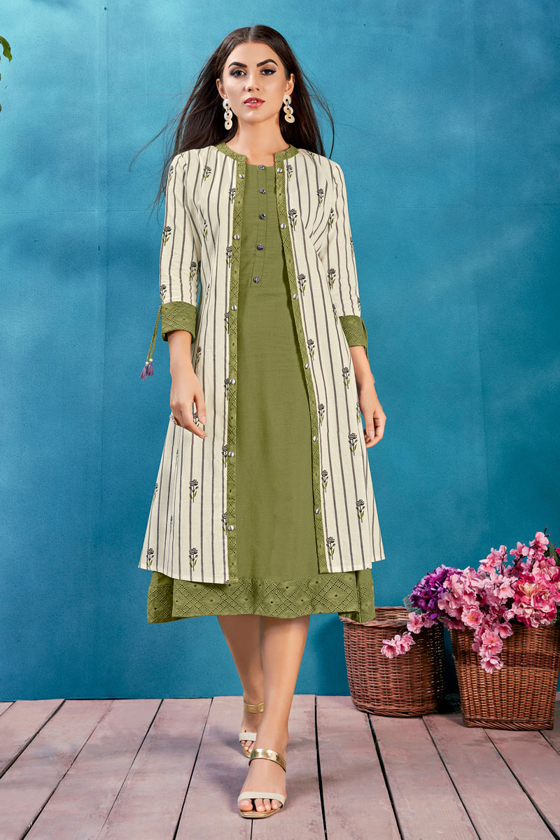 Awesome Cotton Fabric Function Wear Green Color Designer Kurti With Fancy Jacket