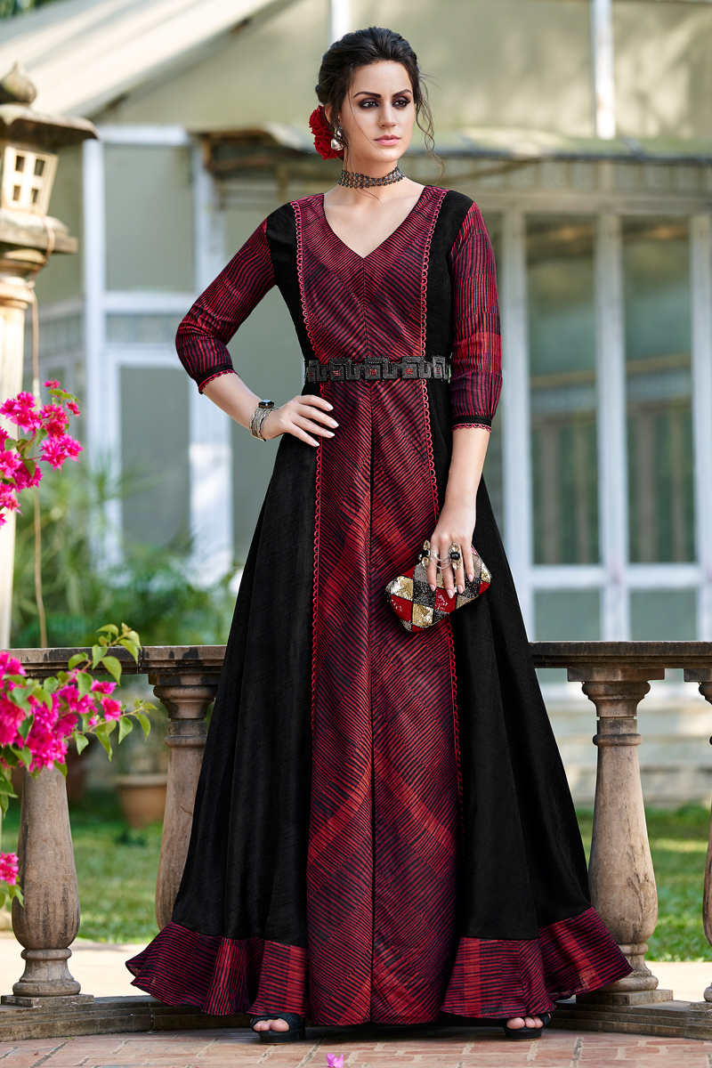 Maroon Color Party Wear Long Gown In Art Silk Fabric