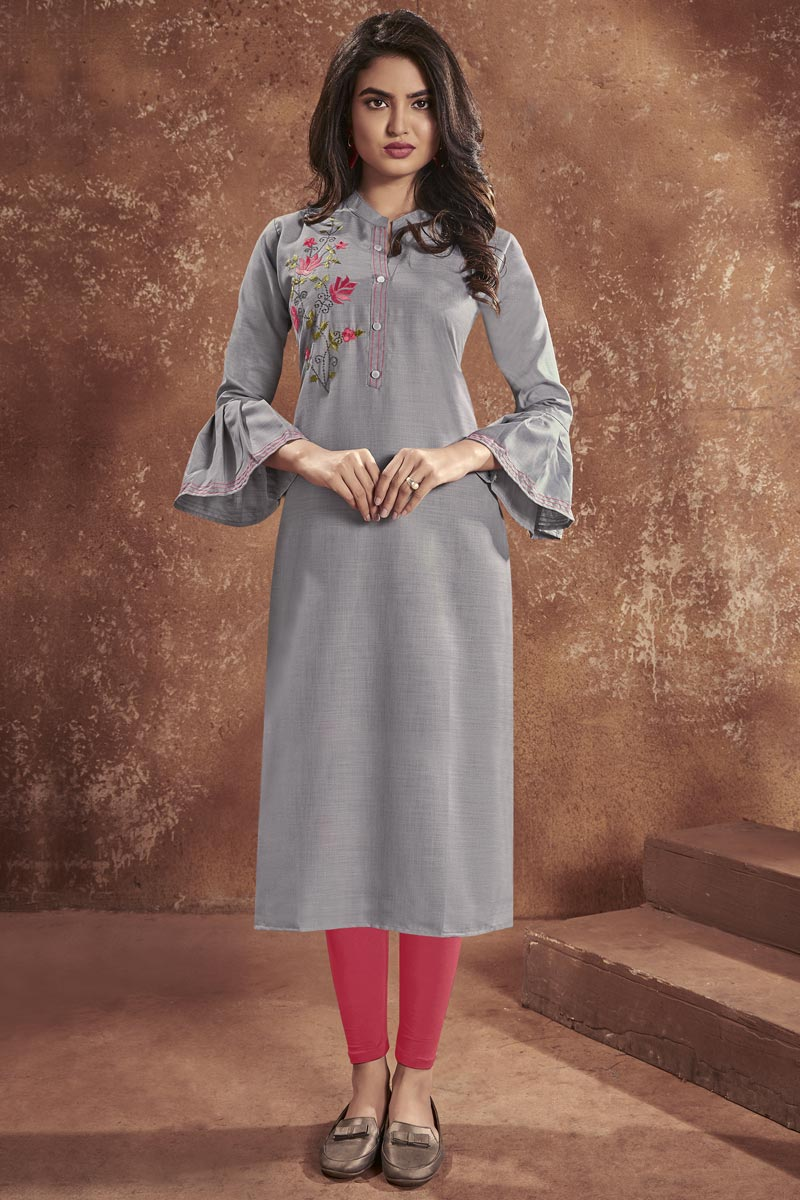 Grey Color Cotton Fabric Casual Wear Embroidered Kurti