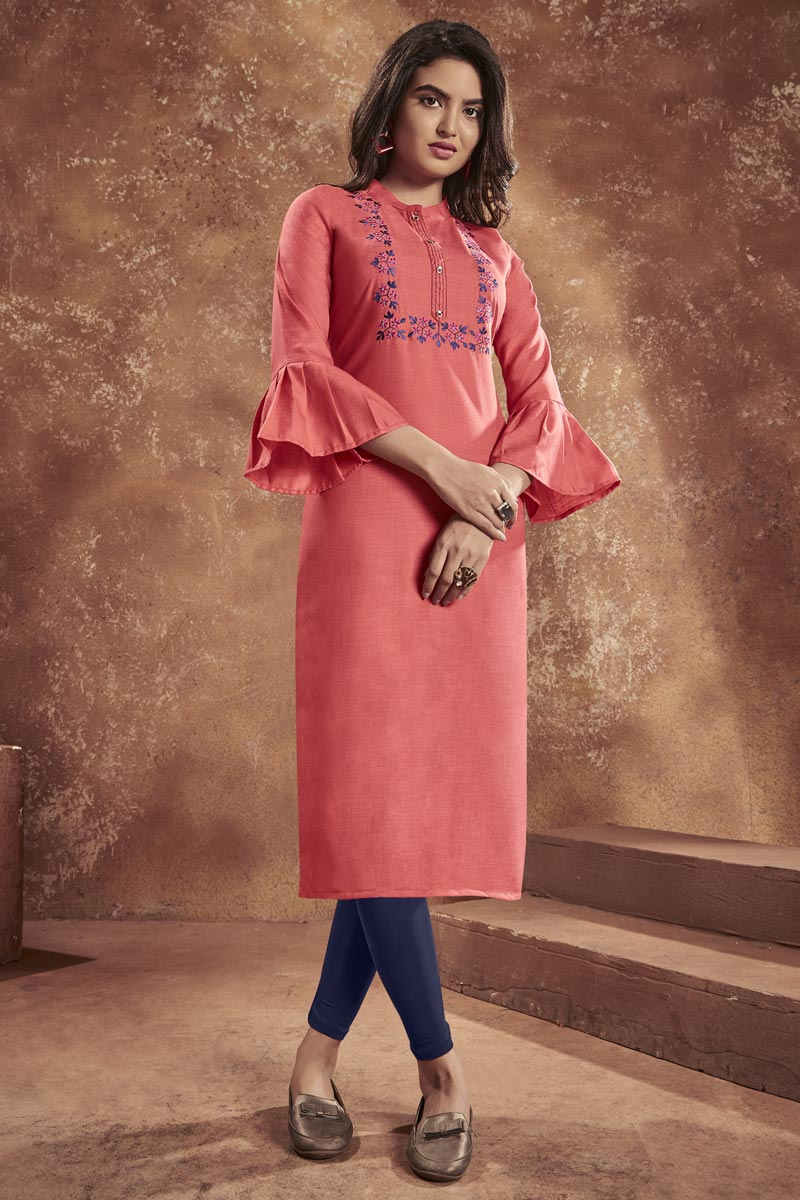 Pink Color Daily Wear Embroidered Kurti In Cotton Fabric