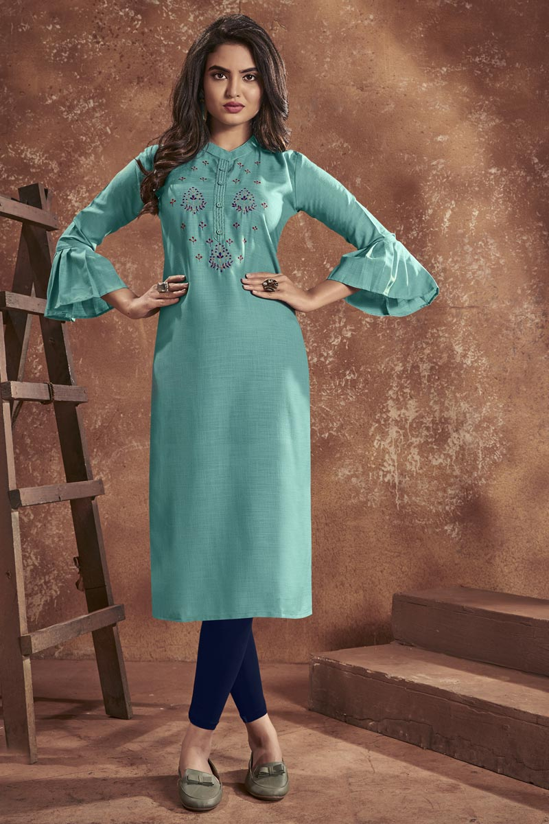 Cyan Color Casual Wear Cotton Fabric Embroidered Kurti
