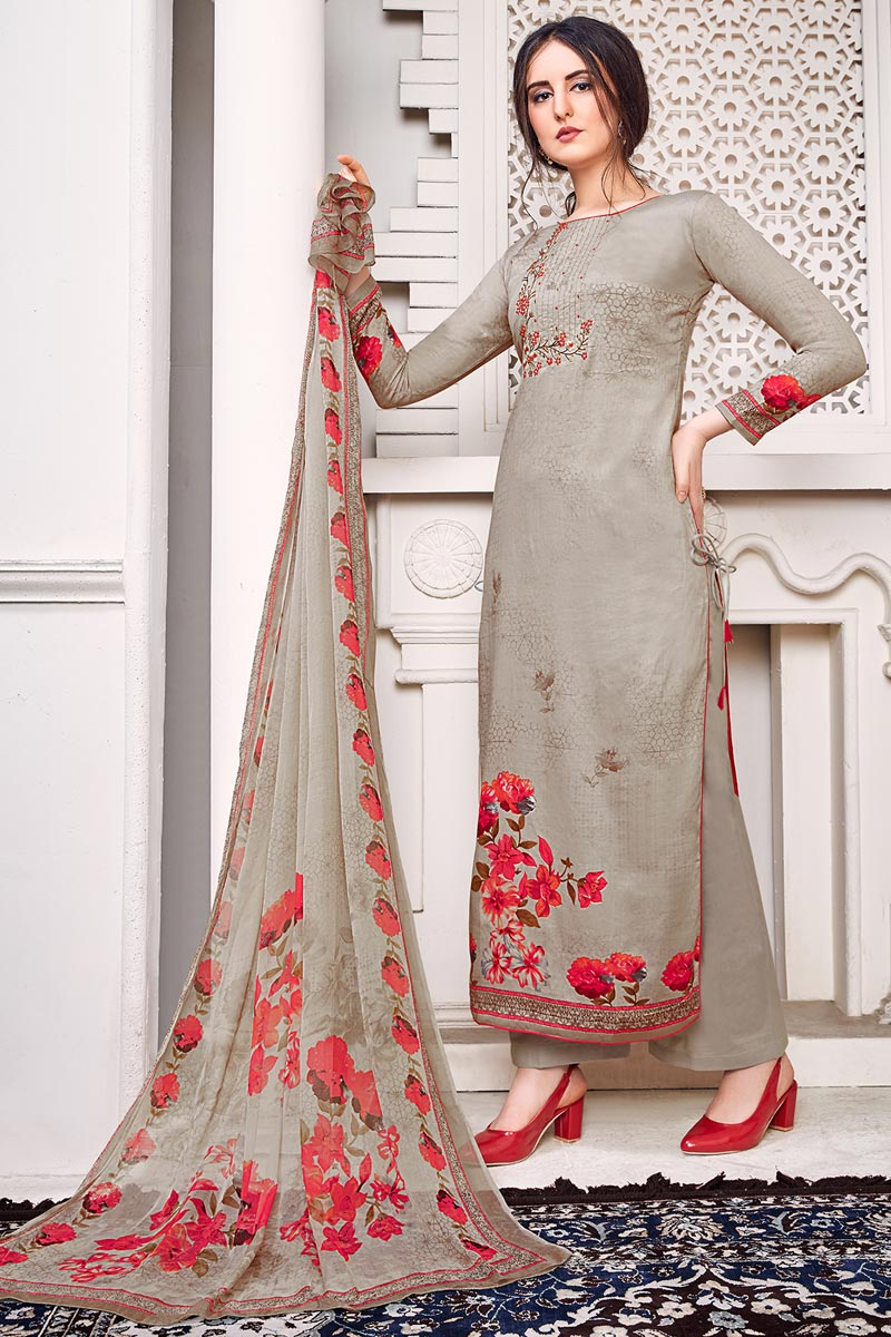 Dark Beige Color Festive Wear Chic Printed Satin Fabric Salwar Kameez