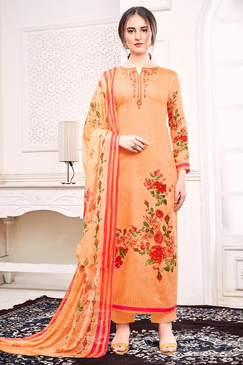 Orange Color Festive Wear Chic Printed Salwar Suit In Satin Fabric
