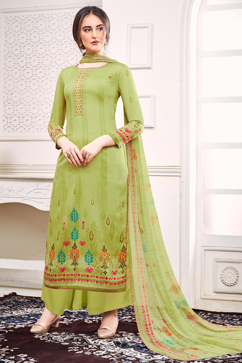Festive Wear Sea Green Color Satin Fabric Chic Printed Salwar Kameez