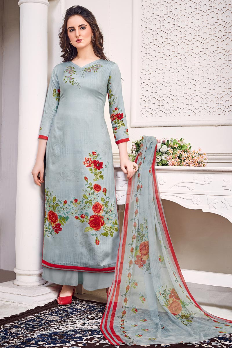 Satin Fabric Festive Wear Chic Printed Salwar Suit In Grey Color