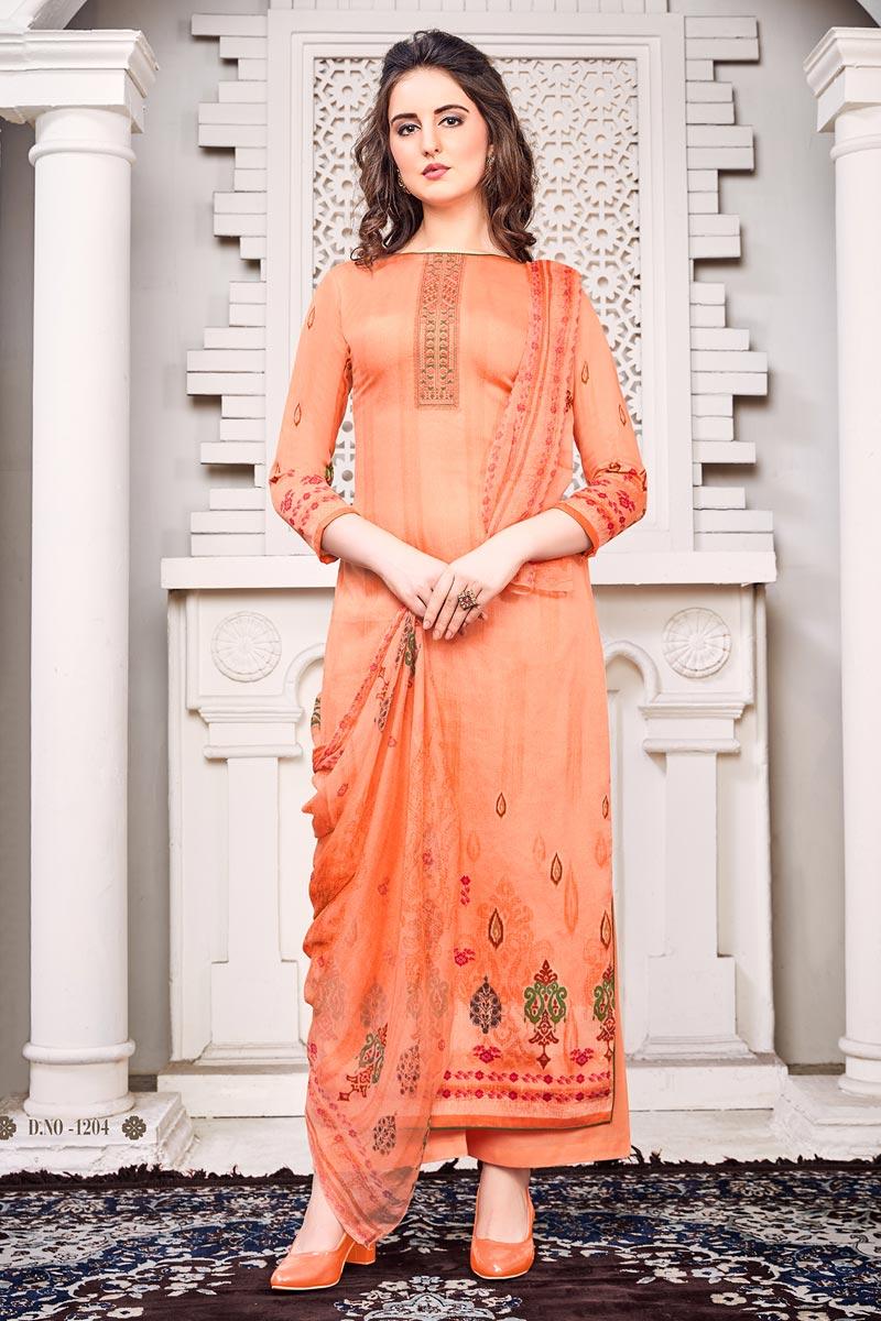 Festive Wear Peach Color Chic Printed Satin Fabric Salwar Kameez