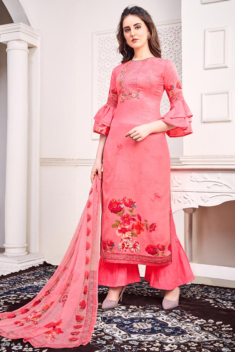 Festive Wear Pink Color Chic Printed Salwar Suit In Satin Fabric