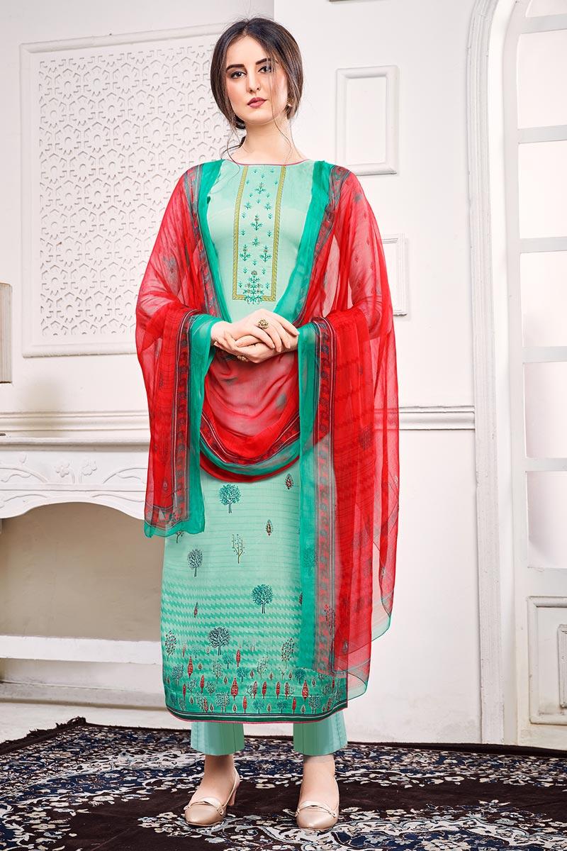 Satin Fabric Festive Wear Chic Printed Cyan Color Salwar Kameez
