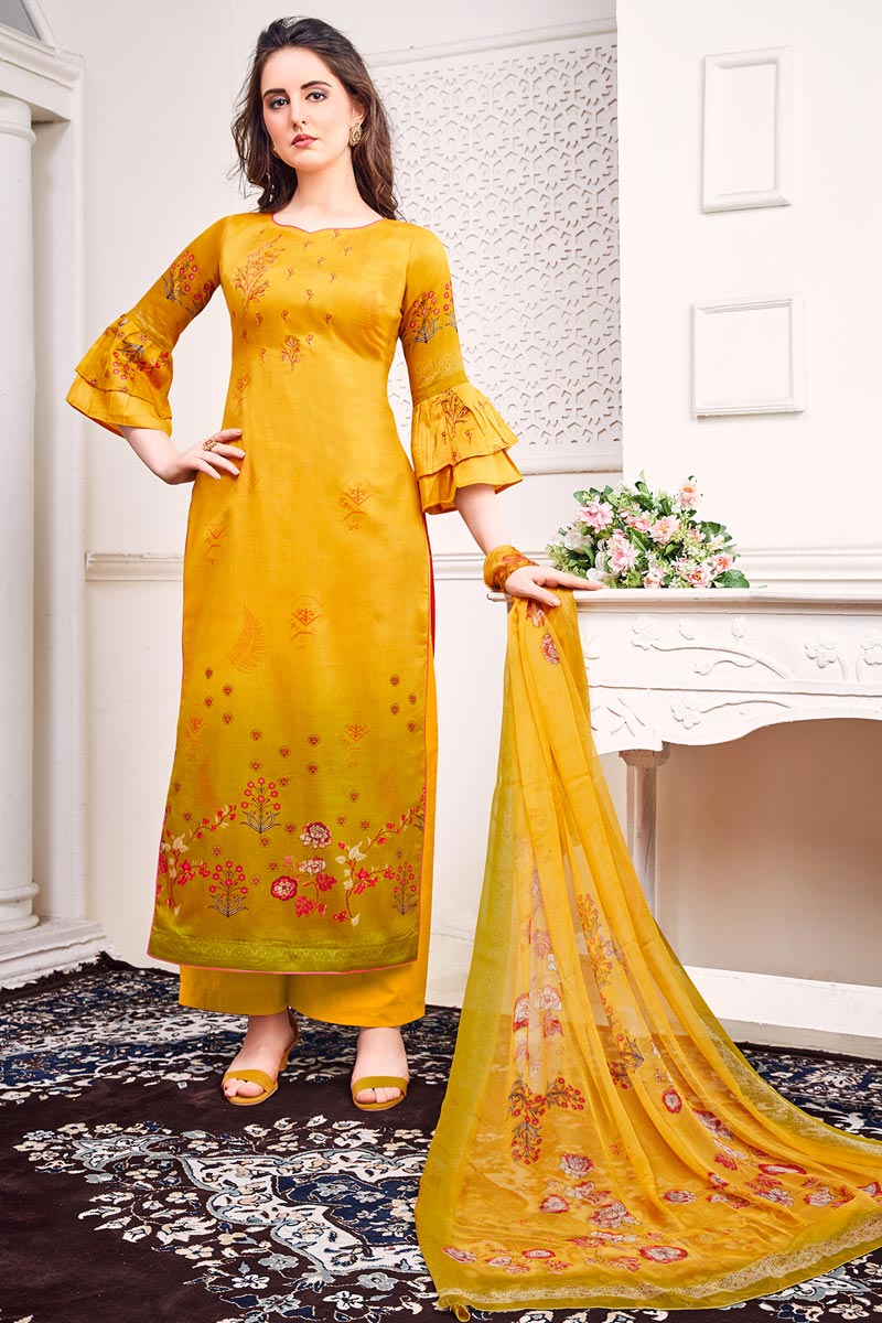 Satin Fabric Festive Wear Chic Printed Yellow Color Salwar Suit