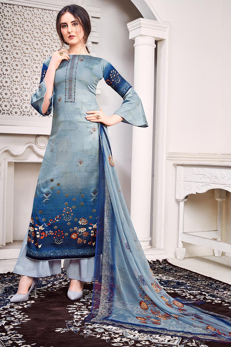 Festive Wear Satin Fabric Blue Color Chic Printed Salwar Kameez