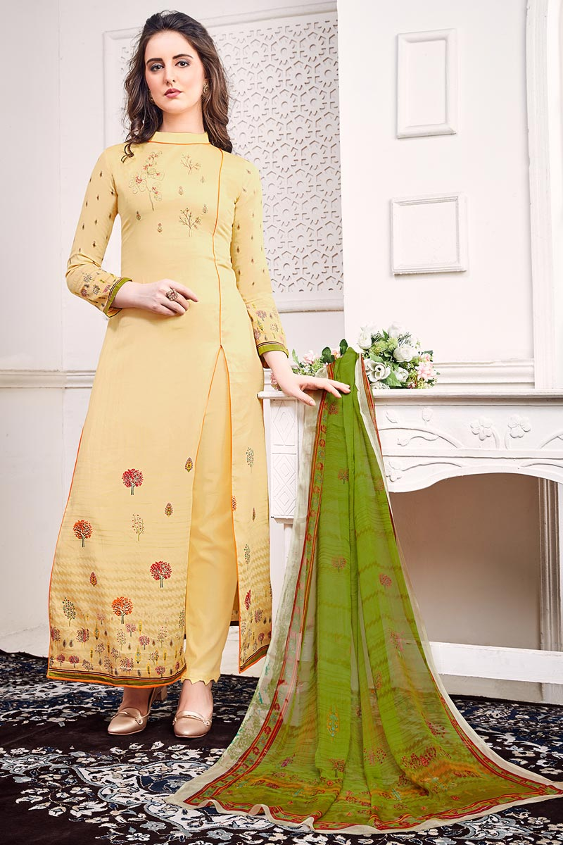 Beige Color Festive Wear Chic Printed Satin Fabric Salwar Suit