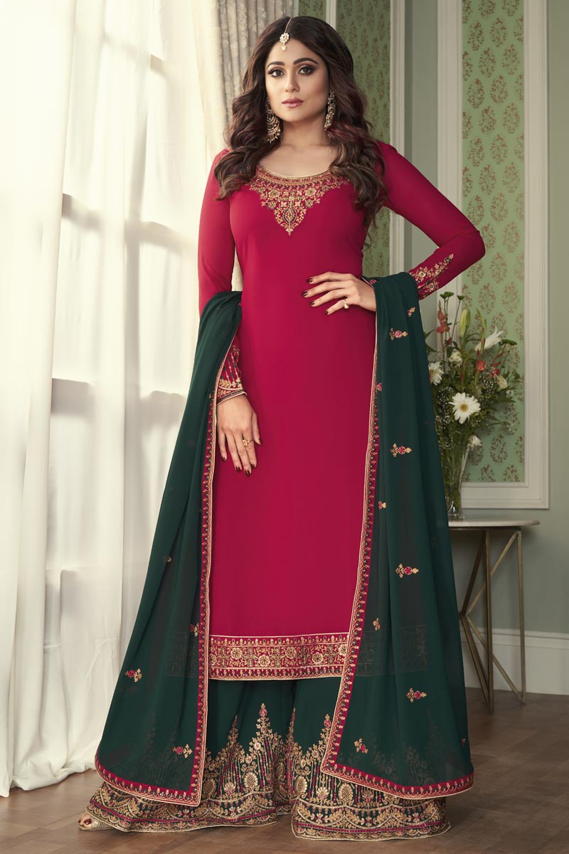Shamita Shetty Rani Color Function Wear Georgette Fabric Palazzo Suit