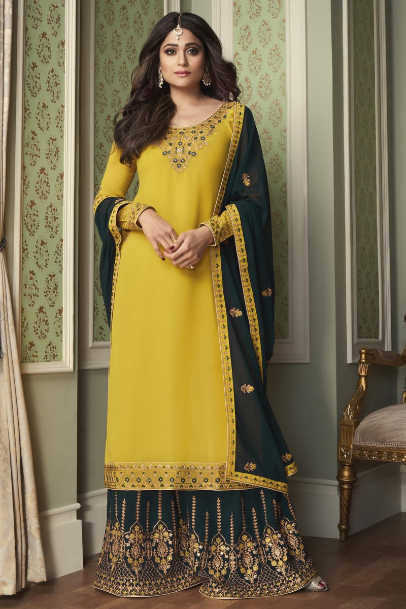 Shamita Shetty Festive Wear Yellow Color Georgette Fabric Palazzo Suit