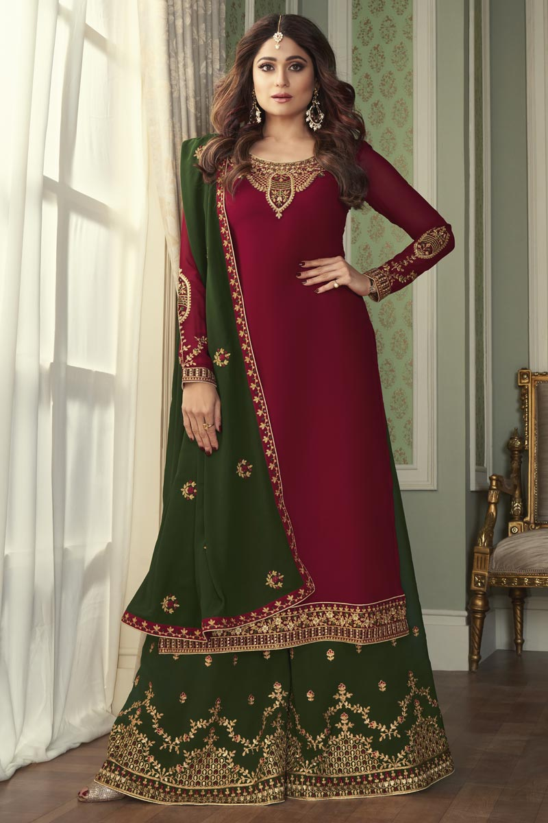 Shamita Shetty Georgette Fabric Party Wear Maroon Color Palazzo Suit