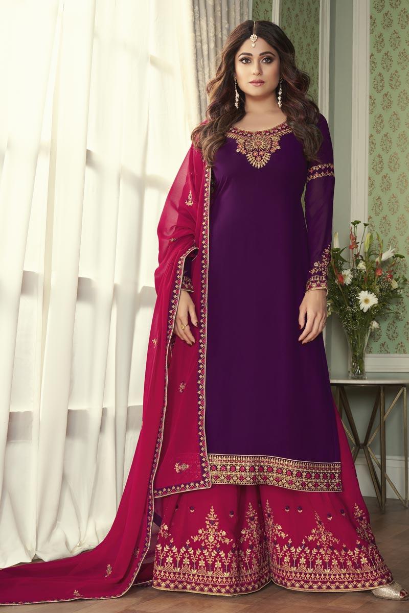 Shamita Shetty Purple Color Georgette Fabric Function Wear Palazzo Suit