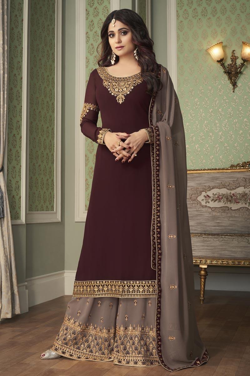Shamita Shetty Georgette Fabric Festive Wear Brown Color Palazzo Suit