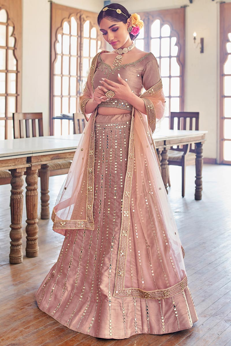 Pink Color Wedding Function Wear Embroidered Silk Fabric Lehenga