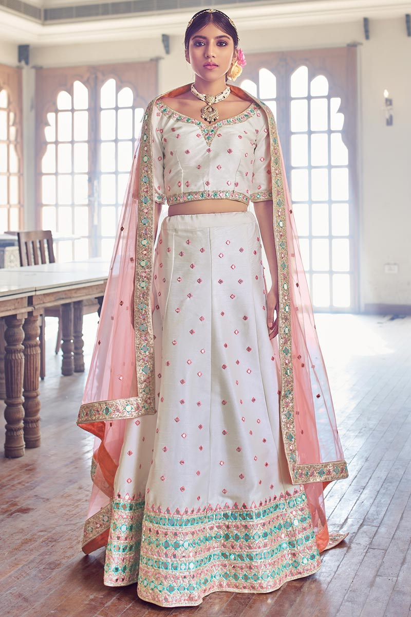 Silk Fabric Wedding Function Wear Off White Color Embroidered Lehenga
