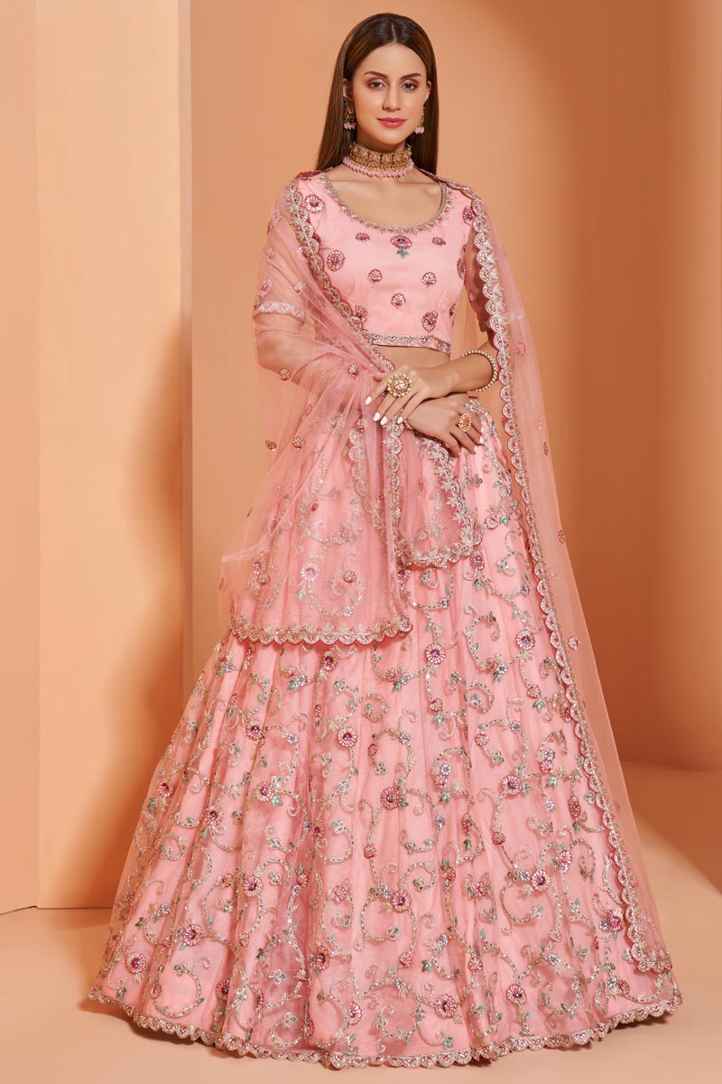 Wedding Function Wear Net Fabric Embroidered Lehenga Choli In Pink Color