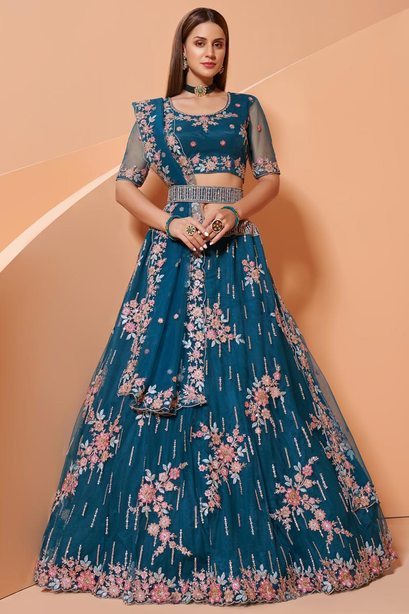 Wedding Function Wear Teal Color Net Fabric Embroidered Lehenga