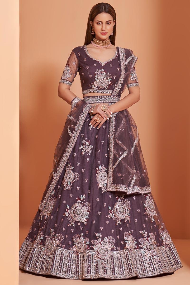 Wedding Function Wear Wine Color Embroidered Lehenga Choli In Net Fabric