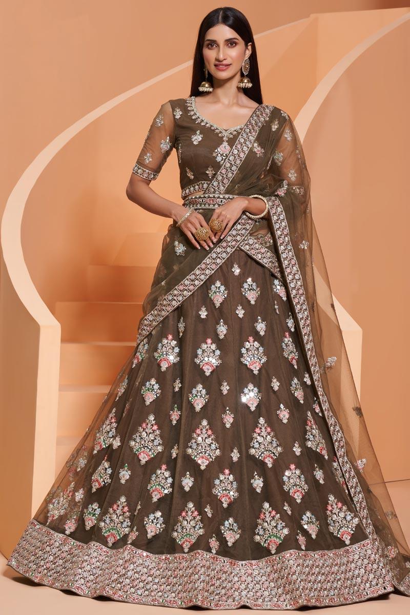 Dark Beige Color Wedding Function Wear Net Fabric Embroidered Lehenga