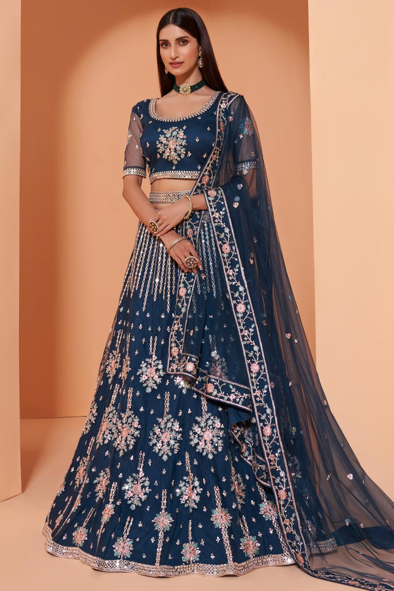 Navy Blue Color Wedding Function Wear Embroidered Lehenga In Net Fabric