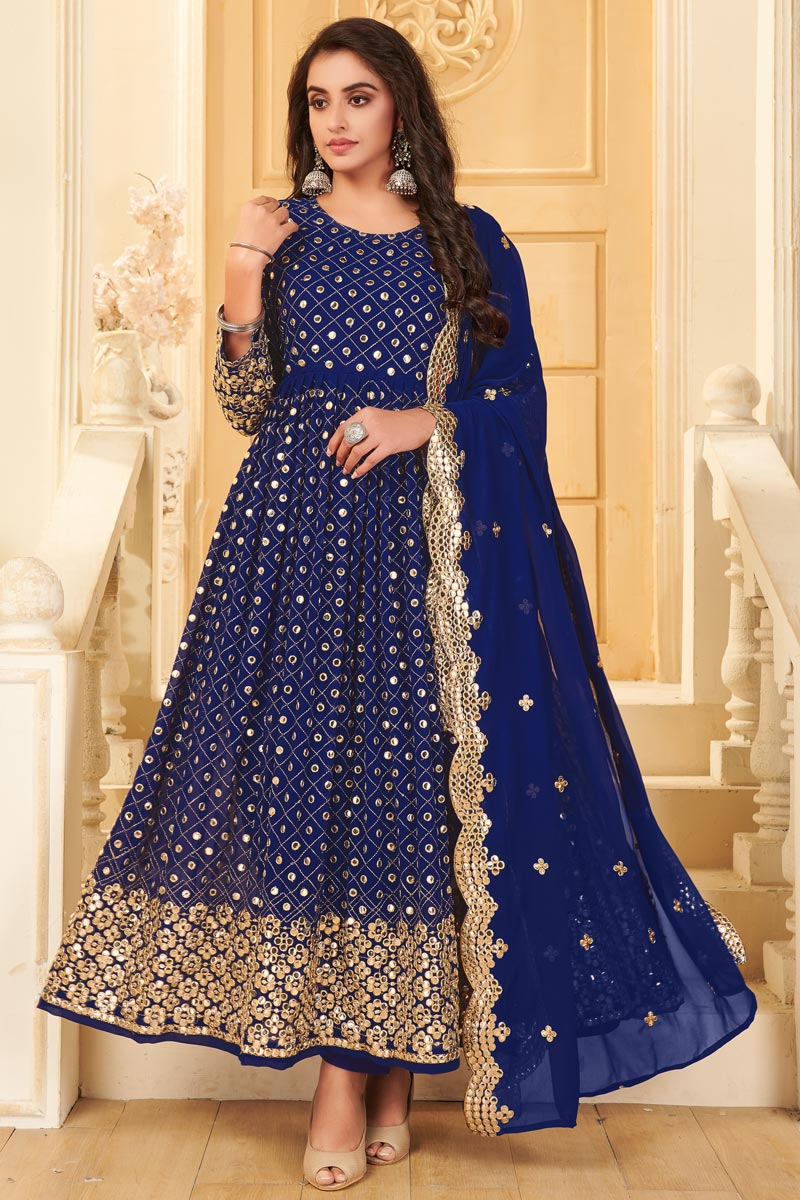 Blue Color Party Style Embroidered Georgette Fabric Anarkali Salwar Suit