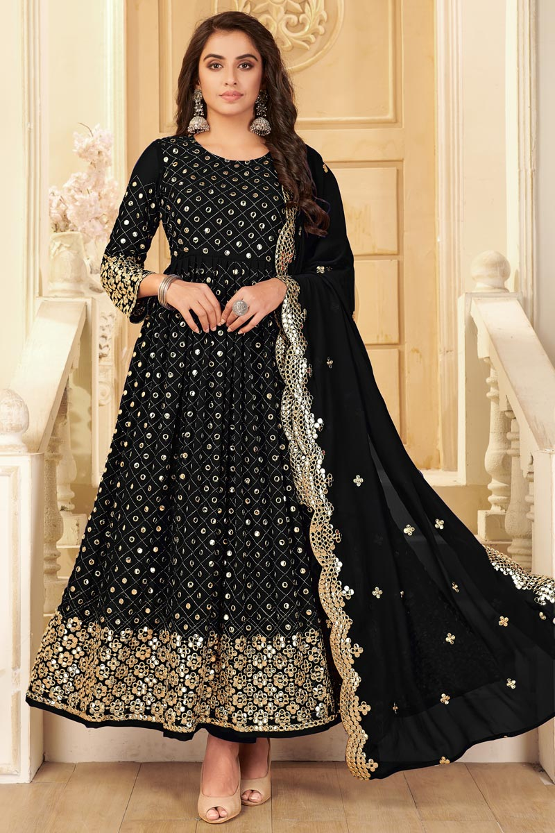 Black Color Party Style Embroidered Georgette Fabric Anarkali Salwar Kameez