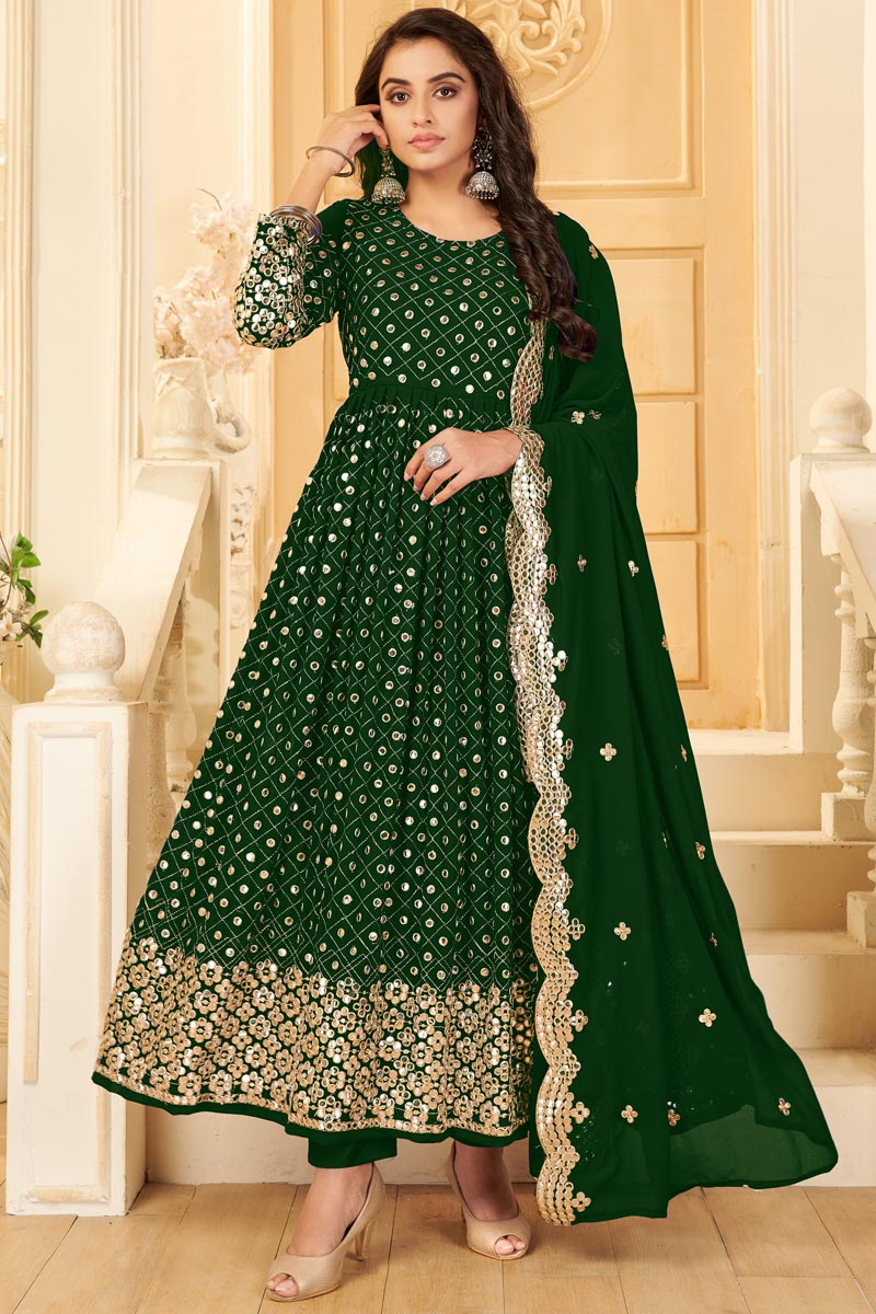 Georgette Fabric Party Style Dark Green Color Embroidered Anarkali Salwar Suit