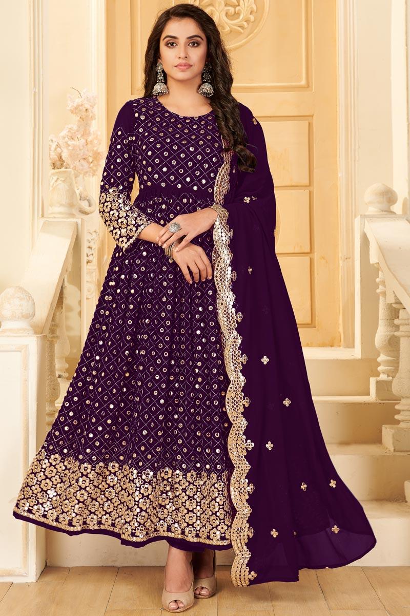 Purple Color Georgette Fabric Party Style Embroidered Anarkali Salwar Kameez