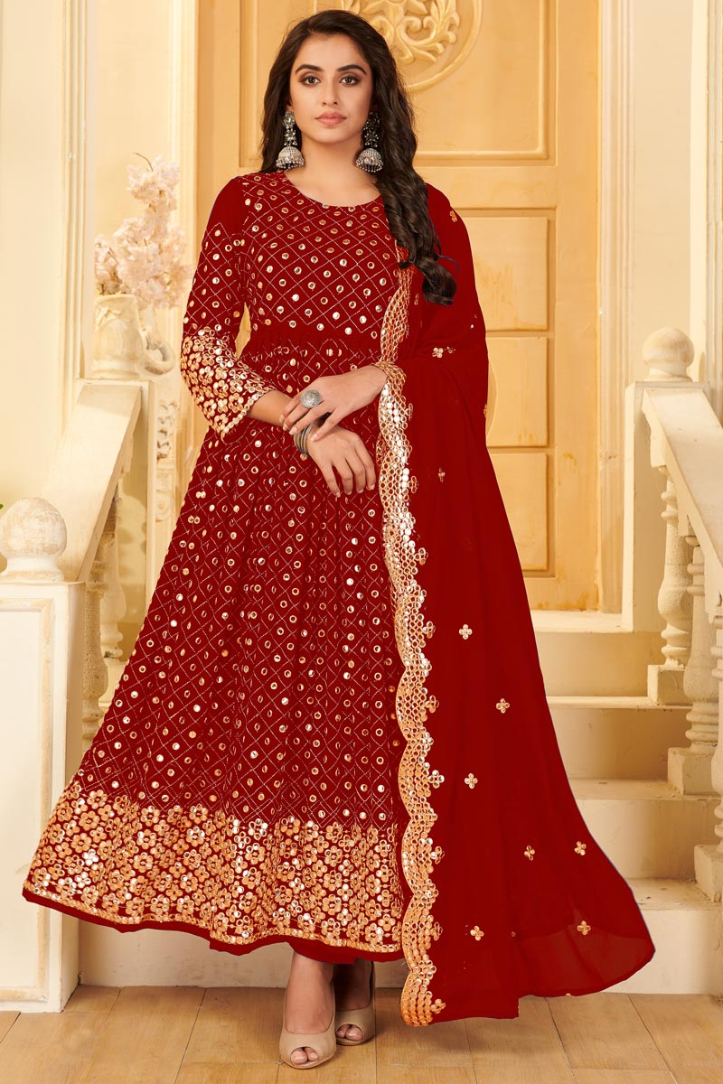 Georgette Fabric Party Style Embroidered Anarkali Salwar Kameez In Red Color