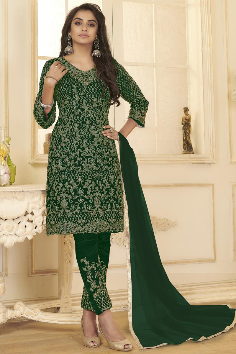 Festive Wear Green Color Embroidered Straight Cut Suit In Net Fabric