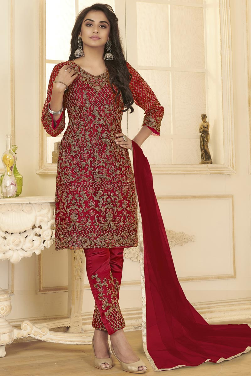 Red Color Festive Wear Embroidered Straight Cut Dress In Net Fabric