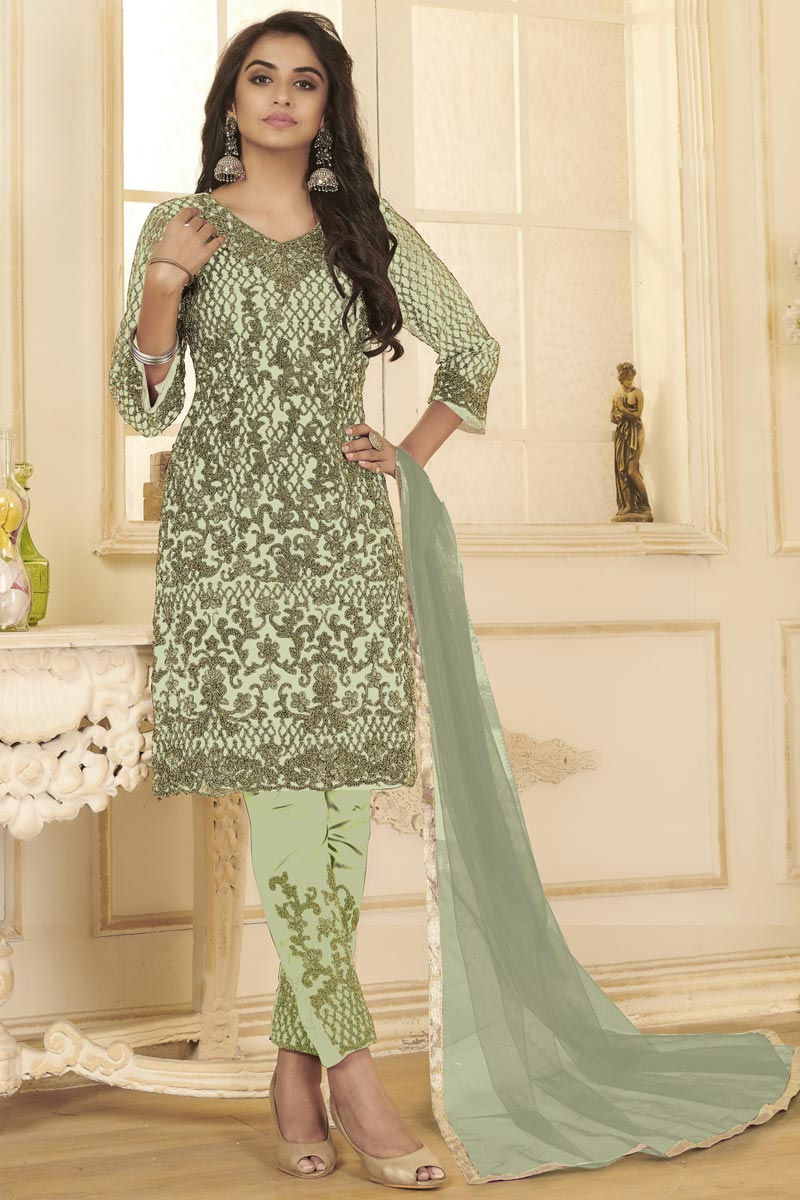 Festive Wear Sea Green Color Embroidered Straight Cut Net Fabric Suit