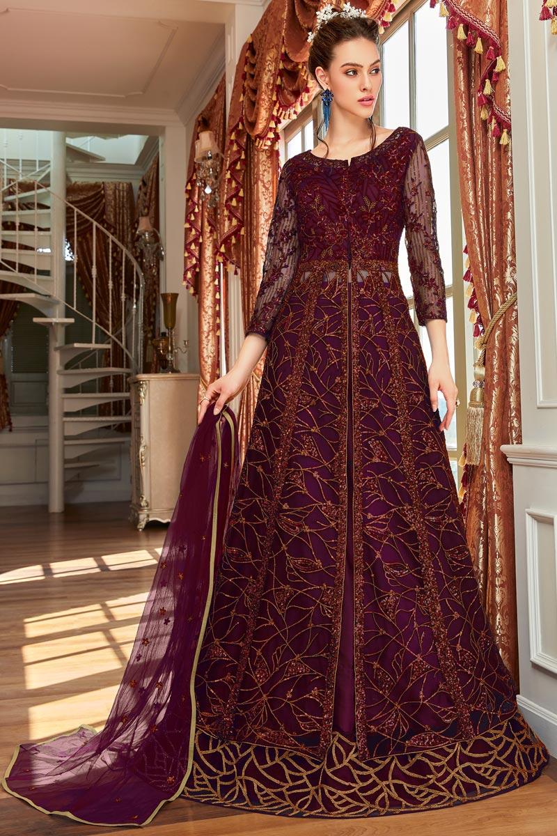 Net Fabric Wine Color Function Wear Anarkali Salwar Kameez