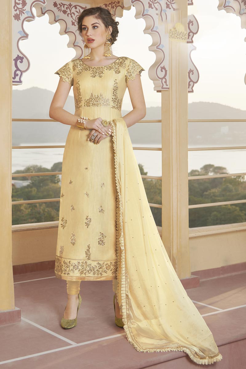 Party Wear Beige Color Trendy Embroidered Straight Cut Suit In Chanderi